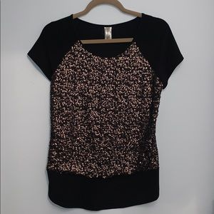 Black and Rose Gold Sequin Top